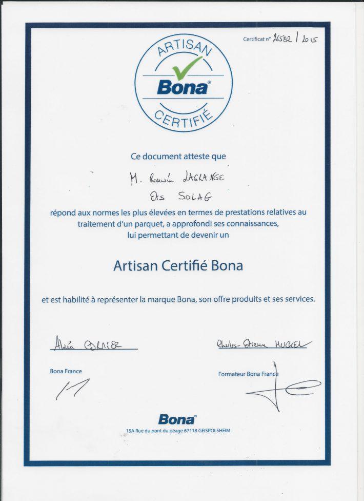 SOLAG artisan certifié BONA