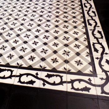 Sol en carreaux de ciment avec motifs